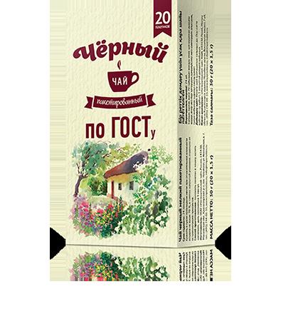 Черный чай без ярлыка по ГОСТу 20 пакетиков по 1,5 г. 24 шт. в гофрокоробе