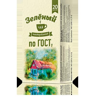 Зелёный чай без ярлыка 20 пакетиков по 1,5 г. 24 шт. в гофрокоробе
