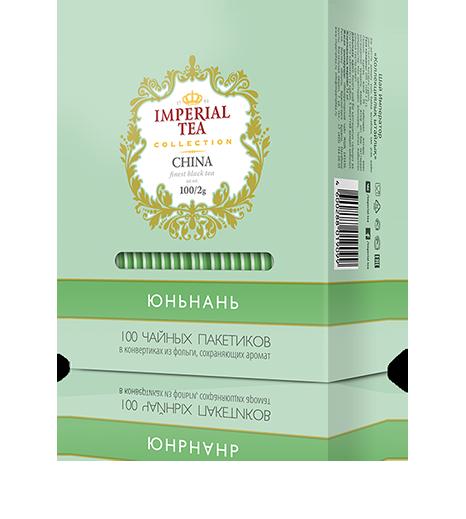 Черный чай юньнань 100 пакетиков по 2 г. 10 шт. в гофрокоробе
