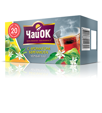 Черный чай с ароматом бергамота «ЧайОК», 20 пакетиков, 56 пачек