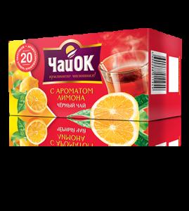 Черный чай с ароматом лимона «ЧайОК», 20 пакетиков, 56 пачек