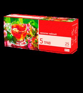 «5 трав» 25 пакетиков по 1,5 г. 32 шт. в гофрокоробе