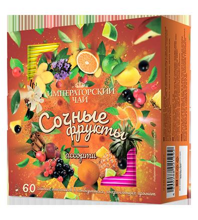 Ассорти «Сочные фрукты» 60 пакетиков по 1,5 г. 10 шт. в гофрокоробе